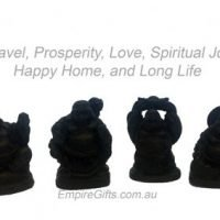 Happy Laughing Buddha Set of 6 Matte Black