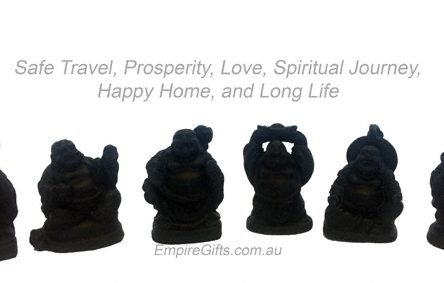6pc Laughing Buddha 55mm Matte Black Feng Shui SET