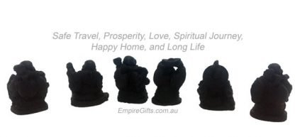 Happy Laughing Buddha Set of 6 Matte Black