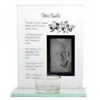 Memorial Photo Frame with Tealight Candle Holder - His Smile