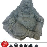 Laughing Buddha Statue Grey Cement - Free Buddha Gifts