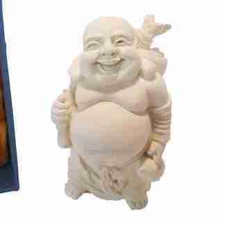 Laughing Buddha Statue Standing Buddha Wealth & Happiness Ivory