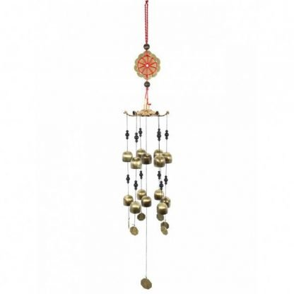 Lucky Chinese Coin Metal Bell Wind Chime With Beads