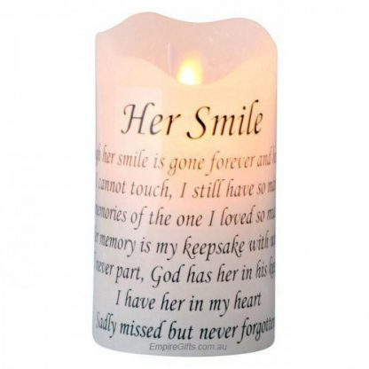 "Memorial LED Candle ""Her Smile"" Funeral Candle Flameless"