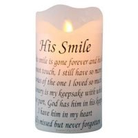 "Memorial LED Candle ""His Smile"" Funeral Candle Flameless"