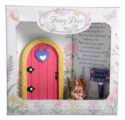 Pink Fairy Door with Fairy + Sign set