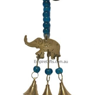 3 Elephants Hanging Brass Bell Blue Beads
