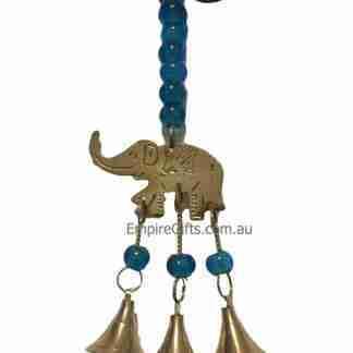 3 Elephants Hanging Brass Bell Blue Beads