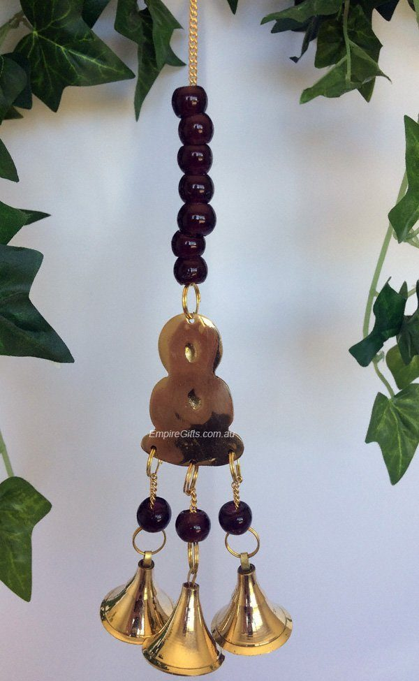 Buddha Brass Bell Gold Chimes Hanging Mobile Dk Red