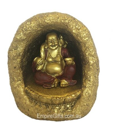 Buddha In Gold Cave Light-Up For Good Luck Happiness Wealth