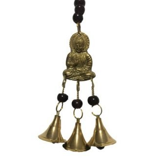 Ganesha Buddha Brass Bell Wind Chime Deep Red