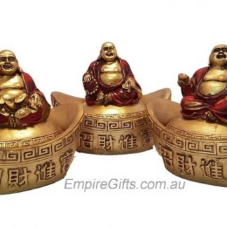 Laughing Buddha on Treasure Ingot Gold 80mm
