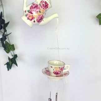 Ceramic Rose Teapot & Teacup with Spoons Wind Chime