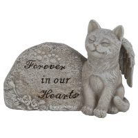 15cm Cat Pet Memorial Garden Rock with Verse Statue
