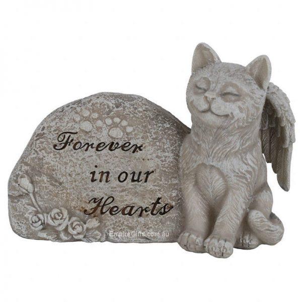 15cm Cat Pet Memorial Garden Rock with Verse Statue