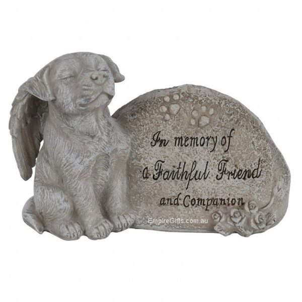 """Pet dog statue reads """"In memory of a faithful friend and companion"""" DIMENSIONS: H: 10cm x W: 15cm D: 7cm. Resin Stone look A beautiful gift to remember a loved pet."""