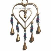 1pc Heart Brass Hanging Bells Feng Shui Enhancer Love Gift