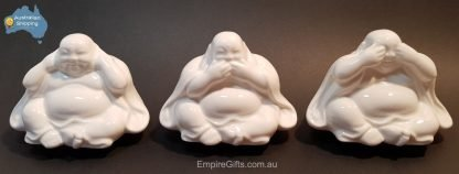 3pc Buddha Statue Wise Rocking Ceramic Hear, See, Speak No Evil