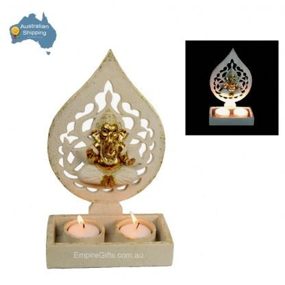 23cm Gold & White Ornate Ganesh Twin Tealight Candle Holder