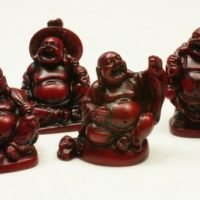 6pc mini Buddha statue Matte red