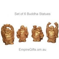 6 Laughing Buddha Statues Gold Finish