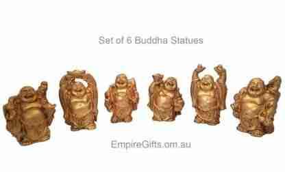 6 Laughing Buddha Statues Gold Finish