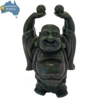 Laughing Buddha Statue Holding Pearls of Wisdom Imitation Jade 115mm