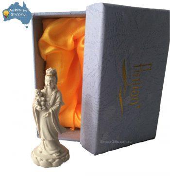 Quan Yin Holding Child Fertility Statue Ivory