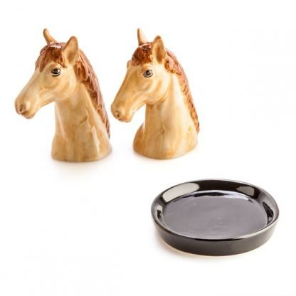 horse salt and pepper shakers shaped like a pair of elegant beige horse heads