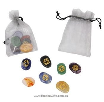 Seven Chakra Gemstones with Engraved Symbols in Organza Gift Bag
