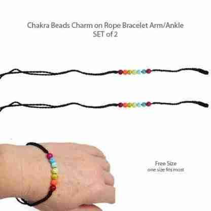 Chakra Beads Charm on Rope Bracelet Arm/Ankle SET of 2