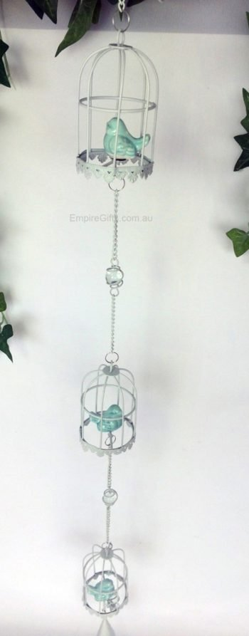 3 Blue Birds Hanging Bell With Bird in Birdcages