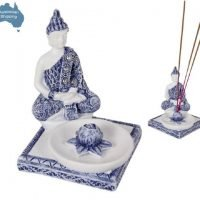 Buddha Blue & White Buddha Incense Burner Holder