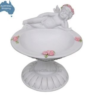 1pc Angel Cherub on Rose Pedestal Potpourri Bowl Fairy Garden