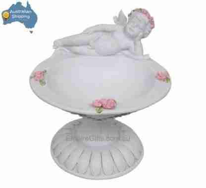 1pc Angel Cherub on Rose Pedestal Potpourri Bowl Fairy Garden