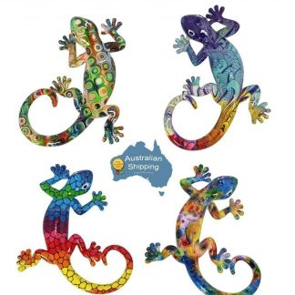 4pc Lizard Gecko Multicoloured Wall Plaque Garden Hanging Art