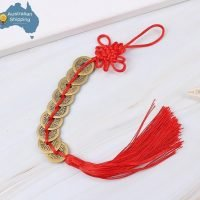 9 Gold Emperor Feng Shui Coins Tied with Lucky Knot & Red Tassel