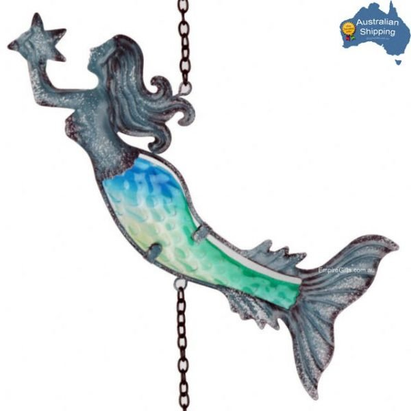 1 x Mermaid Wind Chimes 4 Blue Ombre Metal Tubes Beach Decor