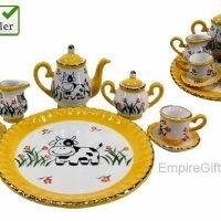 10pc Miniature Tea Set Daisy Cow Print Teapot Collectable