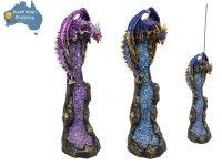 2 x Dragon Incense Burner SET Blue + Purple Crystal Collectable