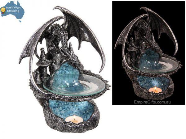 23cm Dragon Statue Guarding Castle Silver Oil Burner Wax Melts A