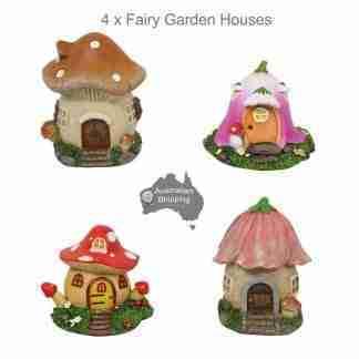 4pc Mushroom House Fairy Garden Collectables SET of 4
