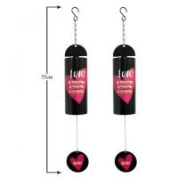 1 x Love Saying - Metal Cylindrical Bell Wind Chime Hanging Mobile