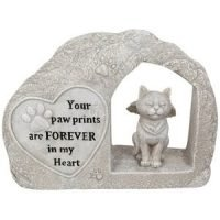 Cat Memorial Stone in Arch Memorial Plaque with Message