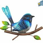 1pc Blue Wren Bird Metal Hanging Wall Art Home Garden Décor