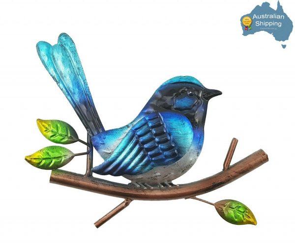 1pc Blue Wren Bird Metal Hanging Wall Art Home Garden Décor