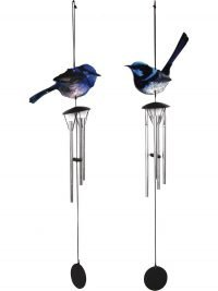 NEW Blue Fairy Wren Bird Wind Chime Metal Garden Hanging 1pc