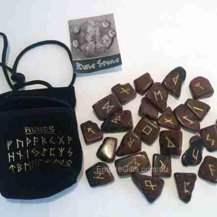 25pc Runes Mahogany Obsidian Gemstones + Chart