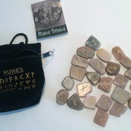 25pc Runes Unique Rose Coloured Rune Stones + Chart