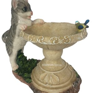 Cat Bird Feeder Statue Garden Ornament
